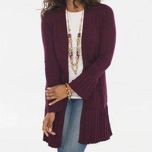 Chico's Burgundy Pleated Faux Pearl Cardigan Mediu
